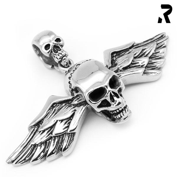 totenkopf flügel anhänger death wings, doppelflügel, viele details, für damen, für männer, geschenkidee, männer geschenk, biker geschenk, anhänger mit kette, edelstahl anhänger