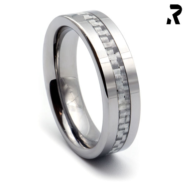 WOLFRAM CARBON RING White Star 6mm