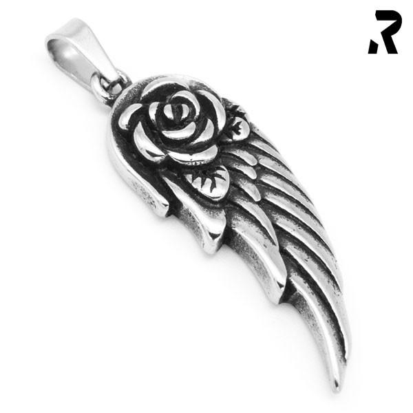 engelsflügel anhänger heaven wing, mit zentraler rose, damengeschenk, geschenkidee, flügel anhänger mit kette, engel anhänger
