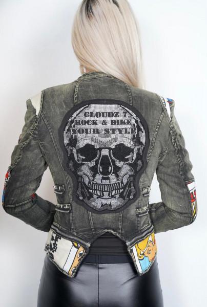 Jeansjacke, Damen Jeansjacke, Totenkopfjacke, Totenkopf, Skull, Jeansjacke grün, Patches, Cloudz 7, Bikerjacke, pop art jacke, Motorradjacke Damen