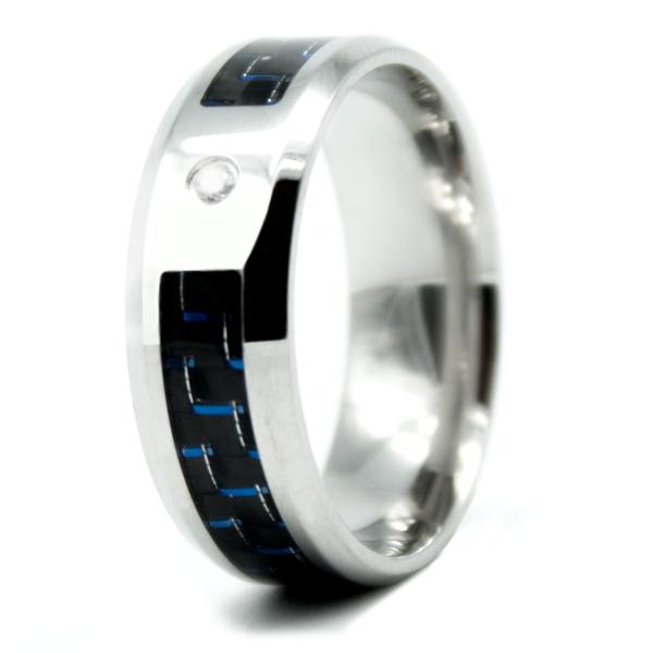 CARBON RING, Carbon, Edelstahl, Zirkonia, blau/schwarz/silber