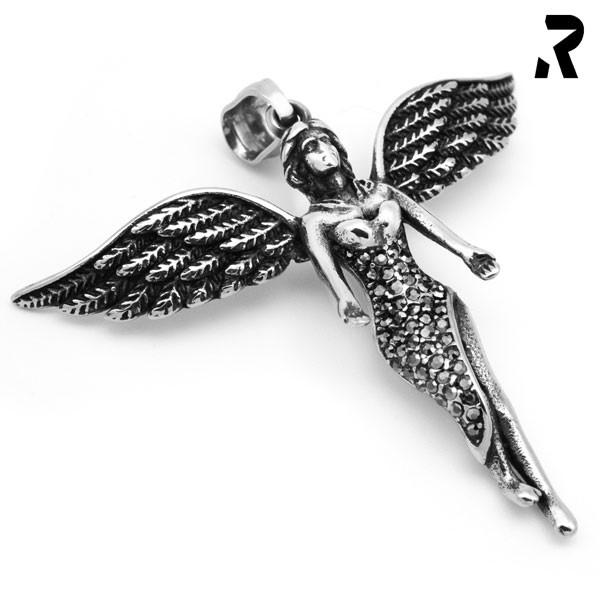 engelsflügel anhänger shining angel, viele details, ansprechende schmucksteine, mittlere größe, damengeschenk, geschenkidee, flügel anhänger mit kette, engel anhänger