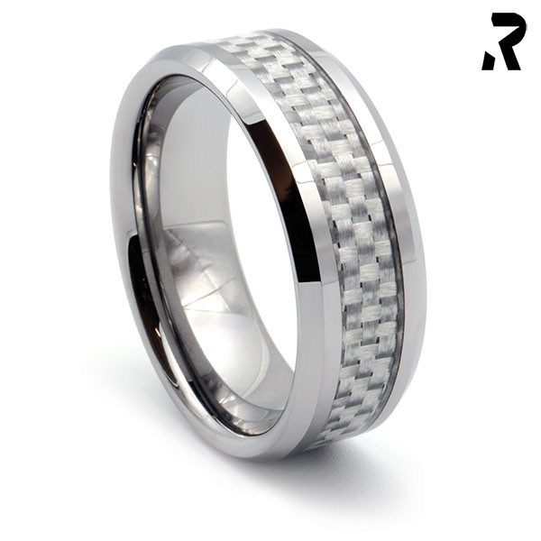WOLFRAM CARBON RING White Star 8mm