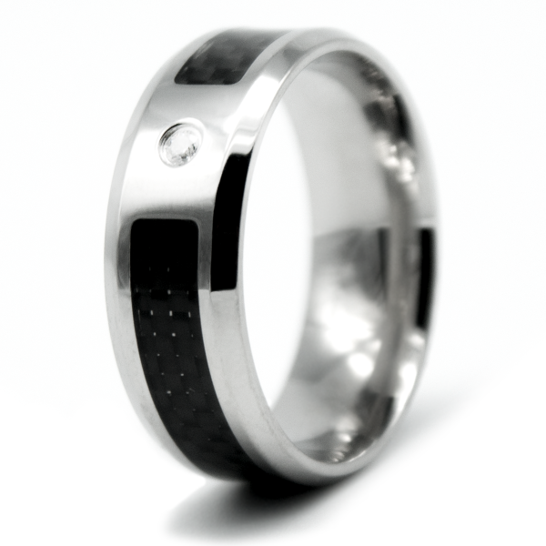 CARBON RING, Carbon, Edelstahl, Zirkonia, schwarz/silber
